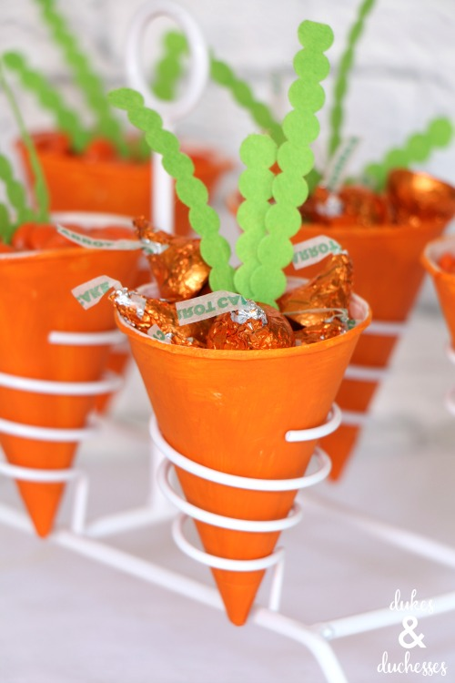carrot treat cones made with snow cone cups
