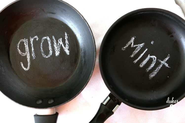 chalkboard garden markers repurposed from frying pans