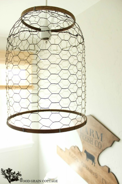 chicken wire farmhouse light