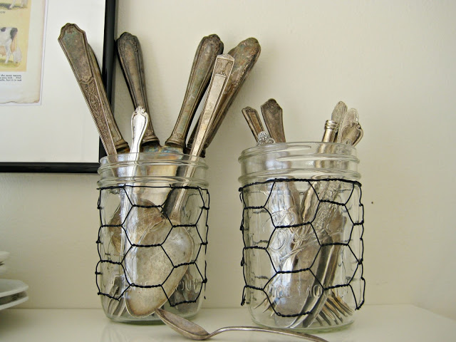 chicken wire sleees for mason jars