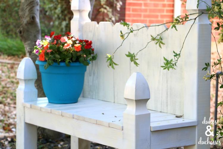 flowers on garden bench
