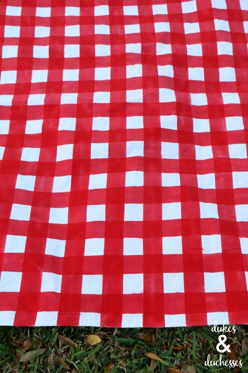 gingham picnic blanket made from a dropcloth