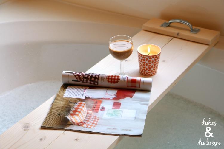 how to make a DIY bathtub tray