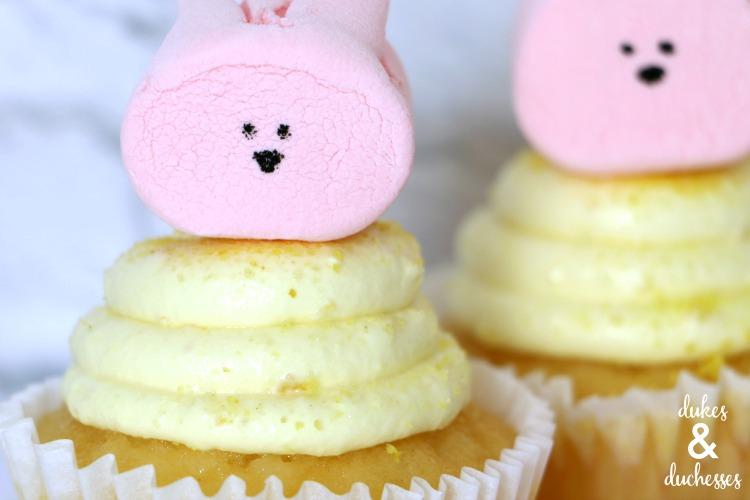 marshmallow bunnies on easter cupcakes