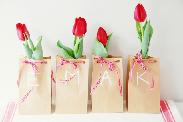 monogrammed paper bag favors