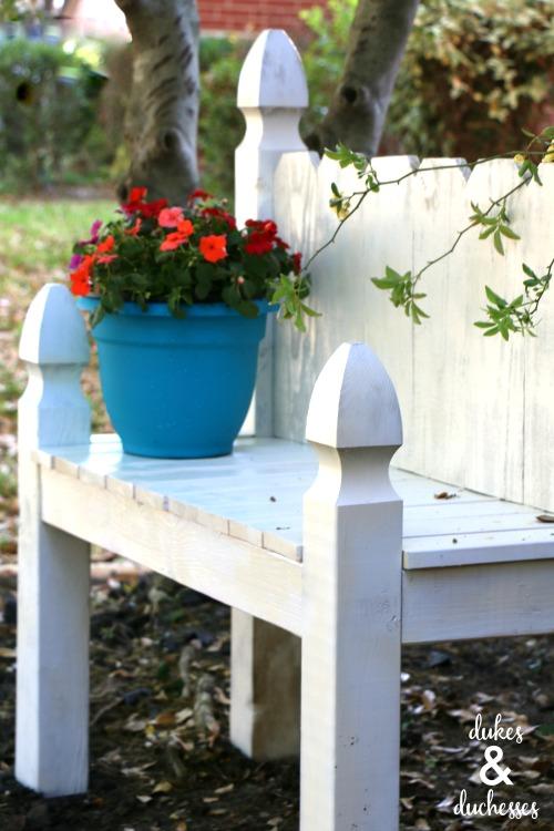 picket fence garden bench