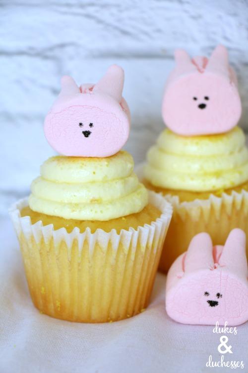 pink marshmallow bunny cupcakes