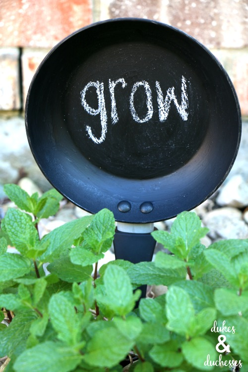 repurposed skillet garden marker