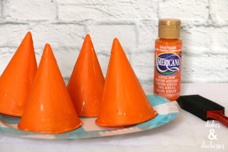 snow cone cups painted orange
