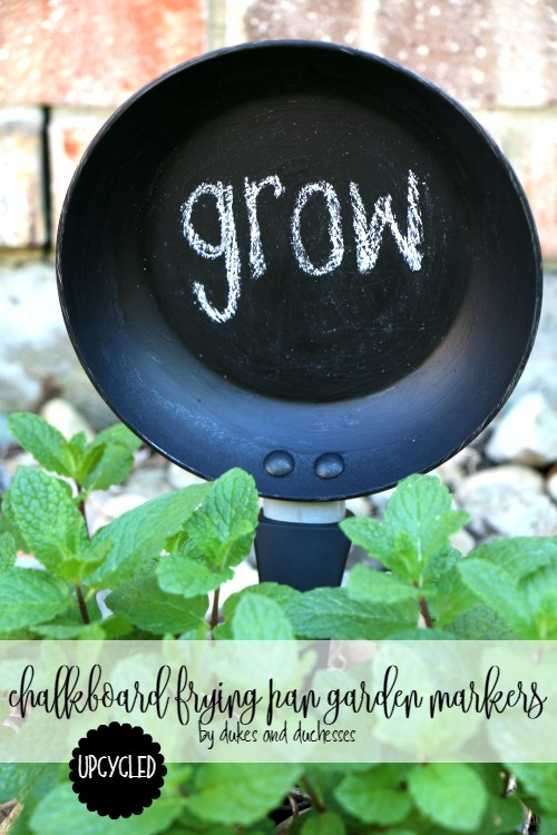 upcycled chalkboard frying pan garden markers