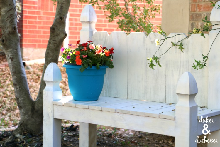white painted garden bench