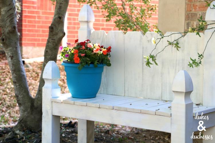 white painted garden bench