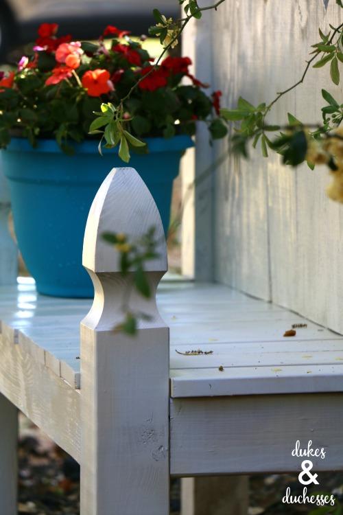 white picket garden bench