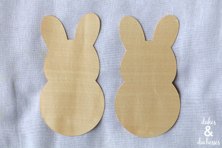 wood veneer bunnies cut with cricut
