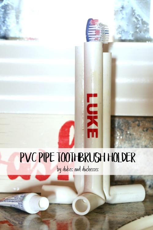PVC pipe toothbrush holder