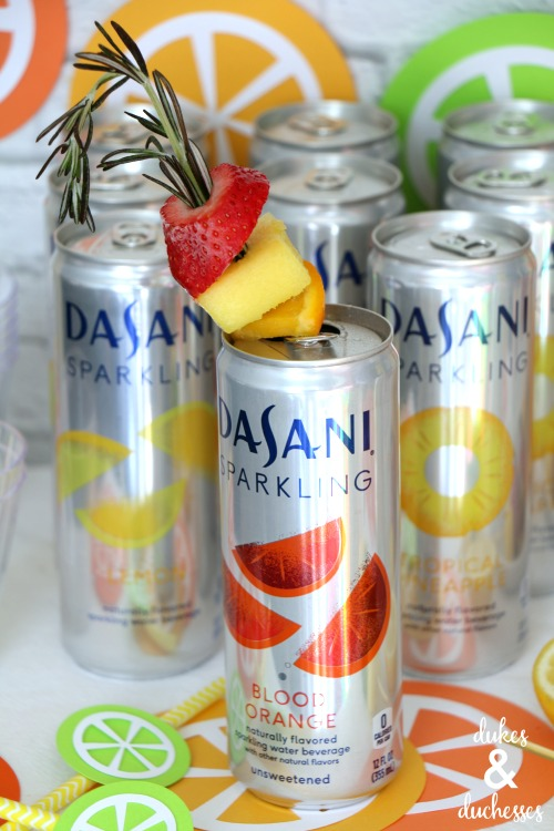dasani sparkling water with frozen fruit skewers