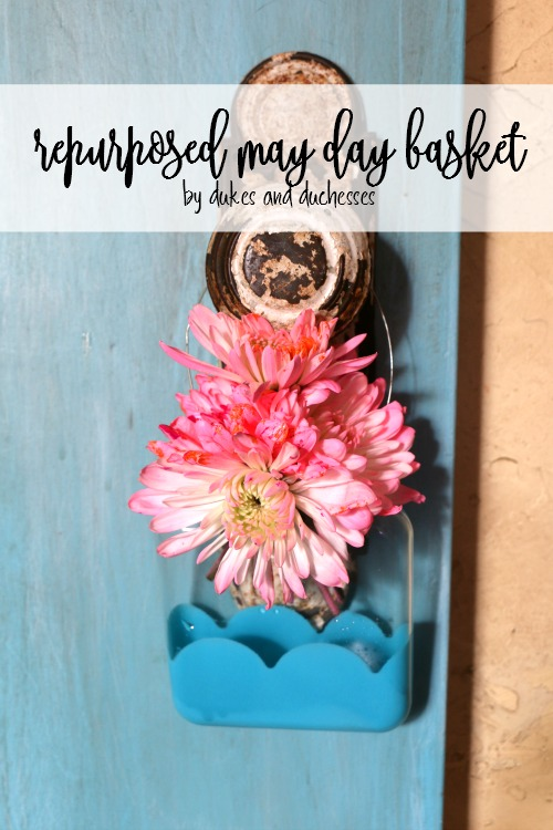 repurposed may day basket made from glass ornament