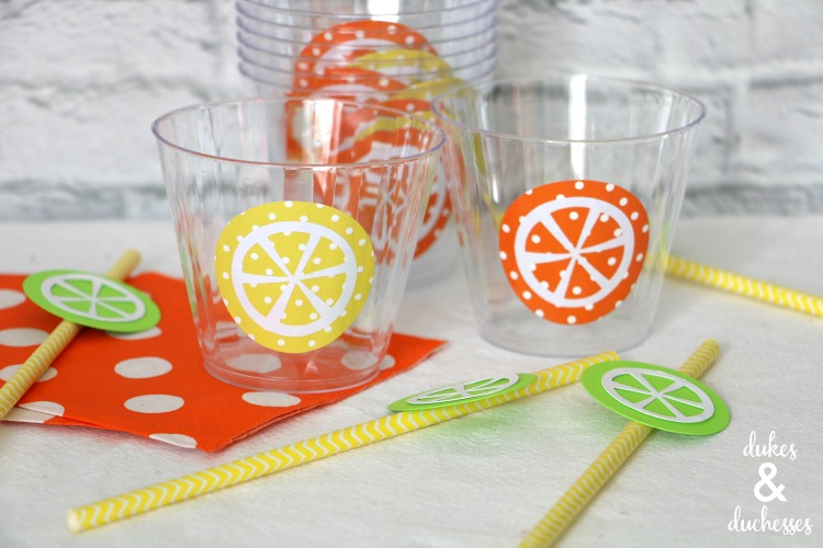 vinyl fruit slices on cups for summer party