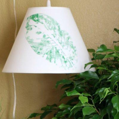 Leaf Stamped Botanical Style Lampshade