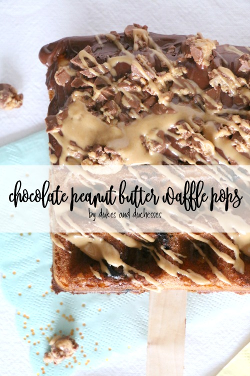 chocolate peanut butter waffle pops