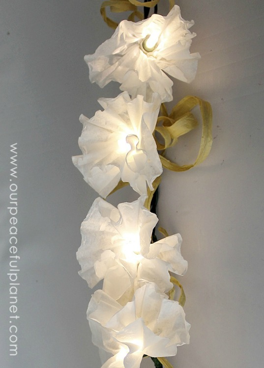 coffee filter flower string lights