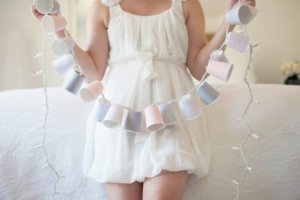 DIY dixie cup string lights
