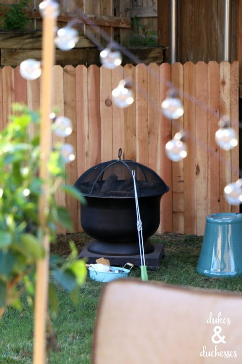 fire pit in back yard makeover
