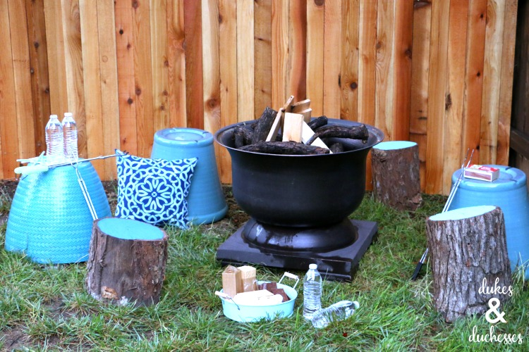 fire pit with DIY log stools