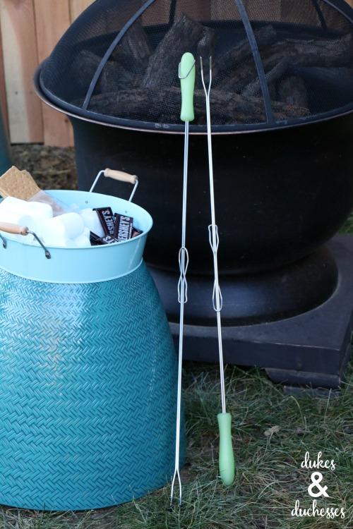 flower pot stools around fire pit