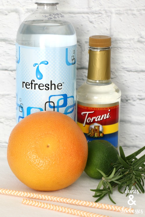 ingredients for rosemary grapefruit spritzer