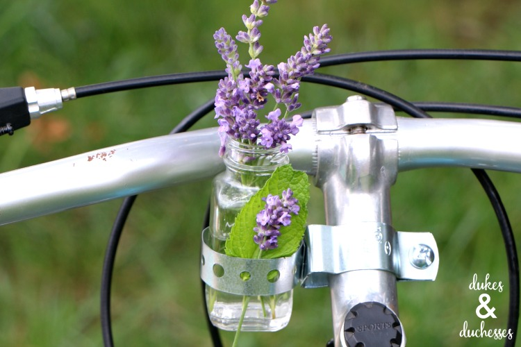 lavender in DIY bike vase