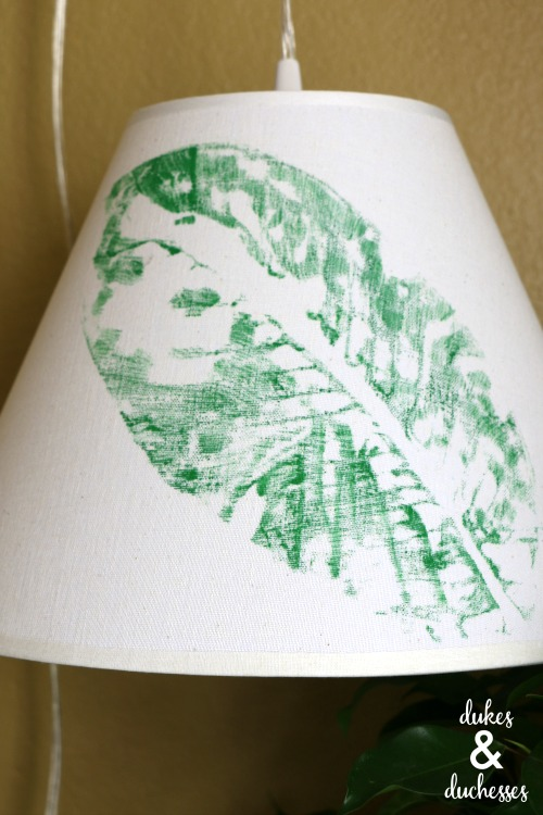 leaf stamped botanical lampshade
