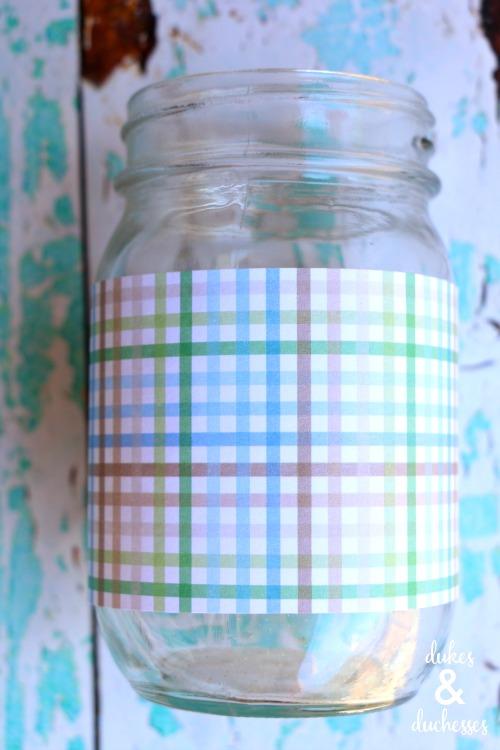 plaid scrapbook paper on mason jar