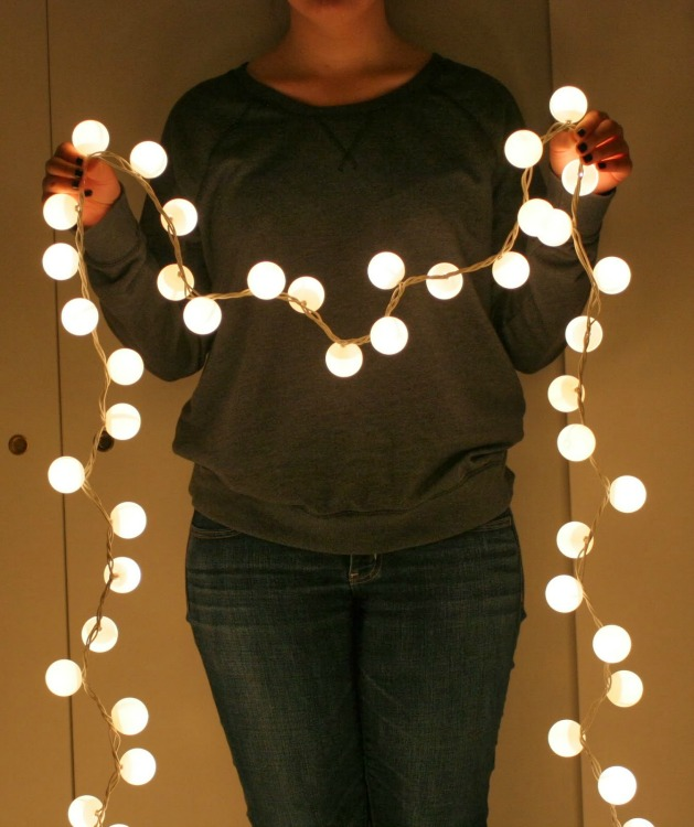 DIY string lights made with ping pong balls