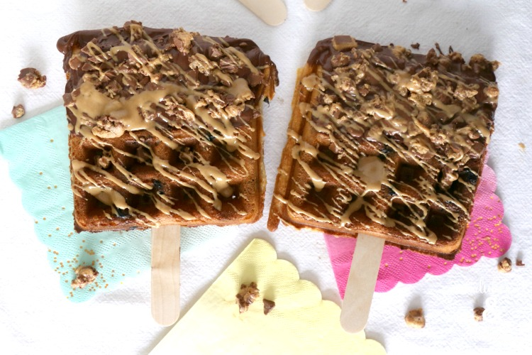 affle pops drizzled with chocolate and peanut butter
