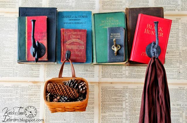 repurposed book coat rack