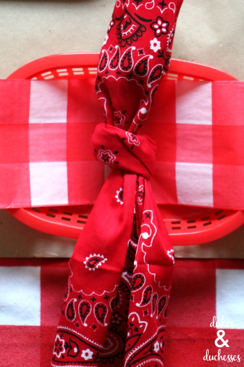 bandana napkins for summer tablescape