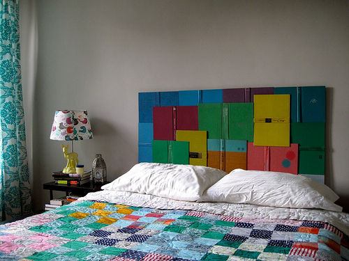 upcycled book headboard