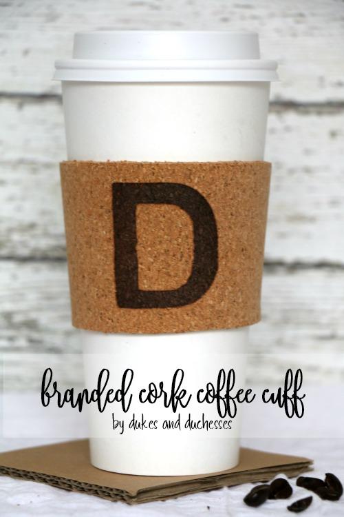branded cork coffee cuff