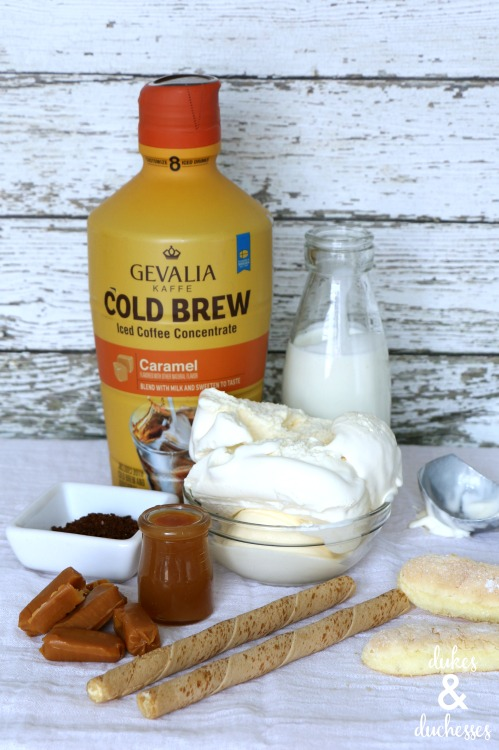 ingredients for caramel cold brew tiramisu freakshake