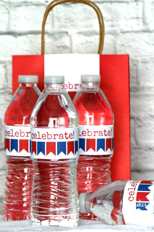 printable water bottle labels and bag toppers for fourth of july