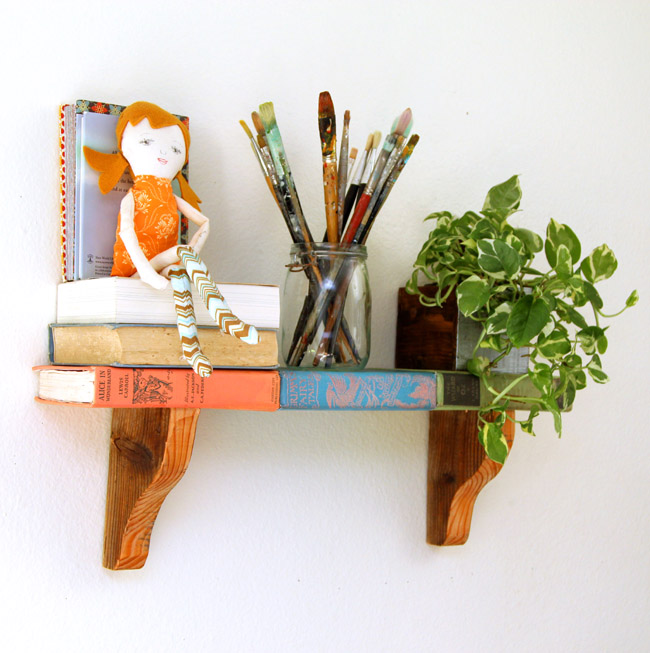 repurposed book bookshelf