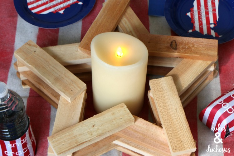 wood star candleholder