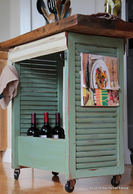 kitchen island made from shutters