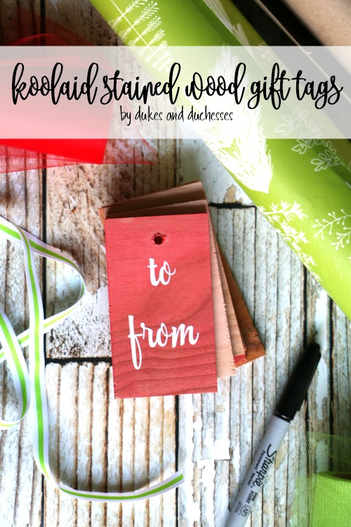 koolaid stained wood gift tags