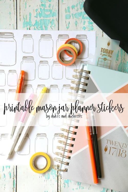 printable mason jar planner stickers