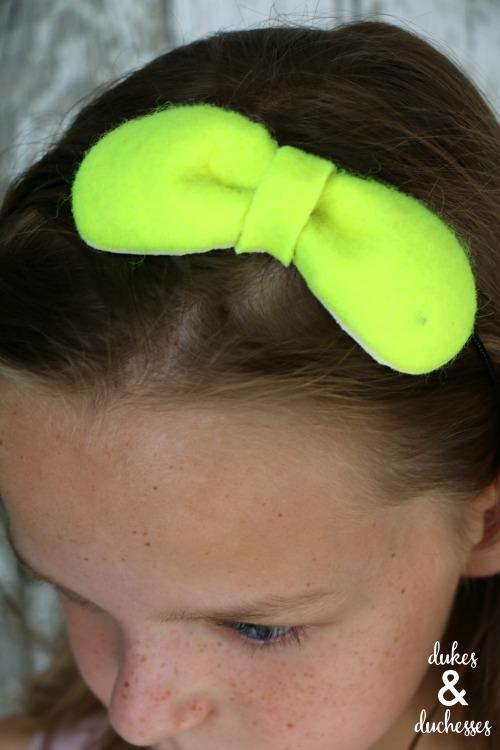 repurposed tennis ball hair bow