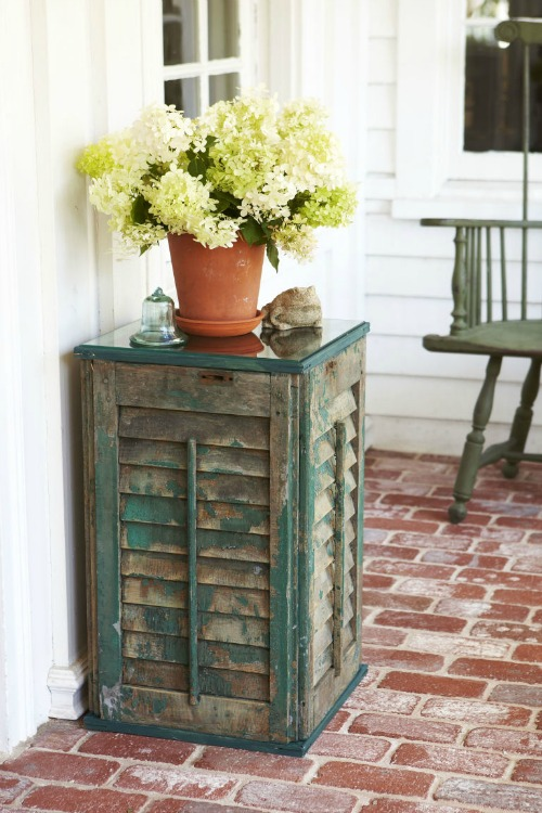 side table made from shutters
