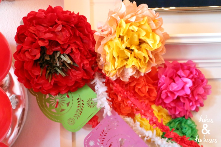 tissue paper flower party decor