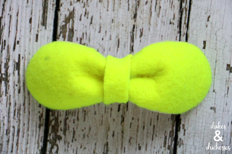 upcycled tennis ball bow